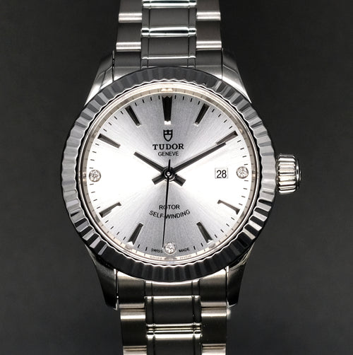 [Brand New Watch] Tudor Style 28mm 12110 Silver Dial Silver Index with Diamonds (Bracelet)