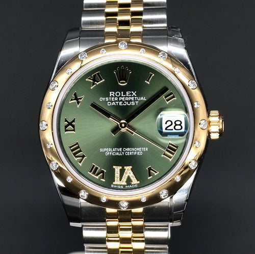 [Brand New Watch] Rolex Datejust 31mm 178343 Green Dial with VI Diamonds (Jubilee Bracelet)