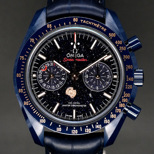 "[Brand New Watch] Omega Speedmaster Moonwatch Omega Co-Axial Master Chronometer Moonphase Chronograph ""Blue Side of the Moon"" 44.25mm 304.93.44.52.03.002"