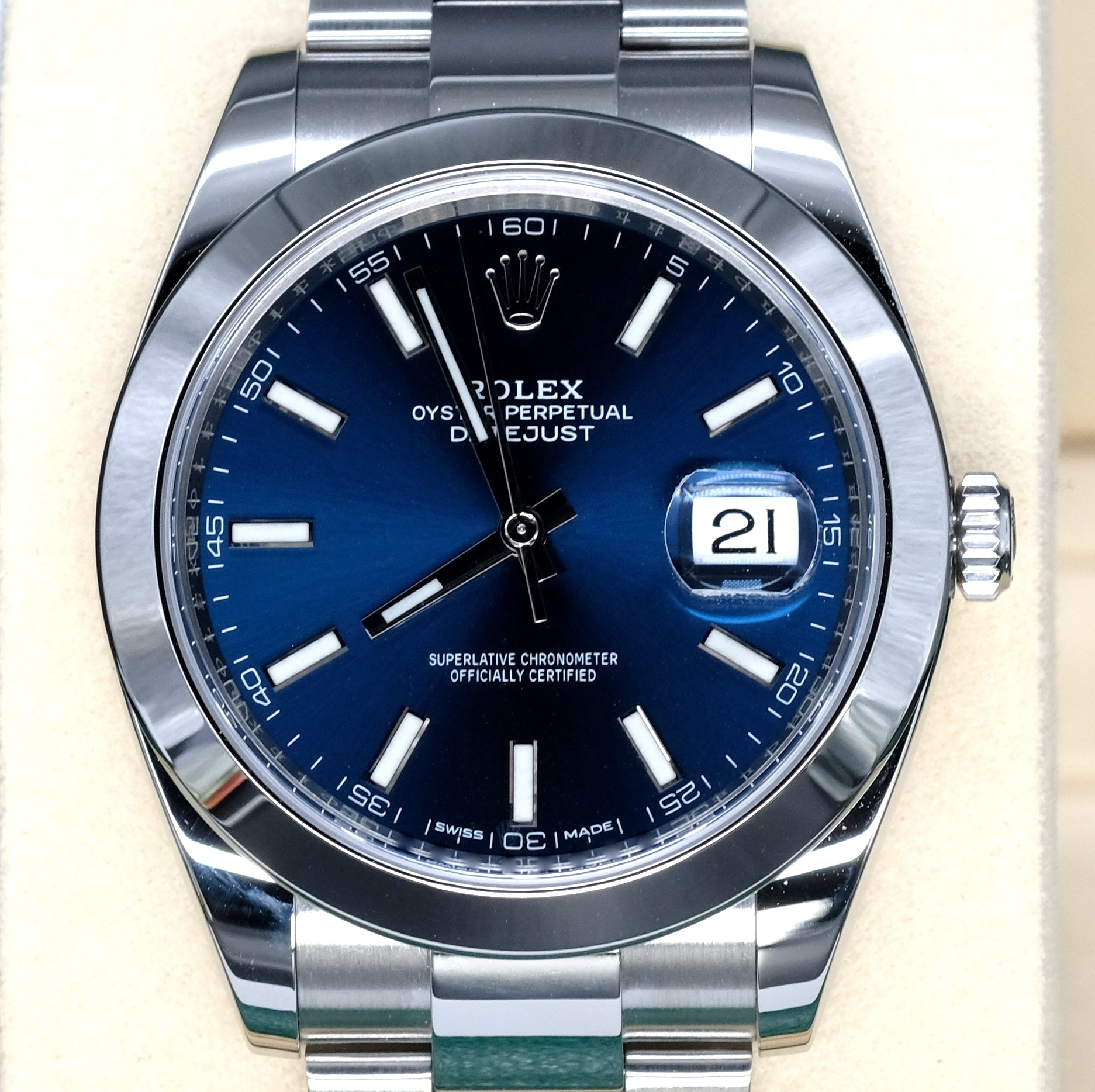 [Pre-Owned Watch] Rolex Datejust 41mm 126300 Blue Index Dial (Oyster Bracelet) (888)