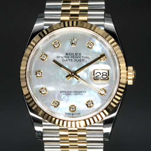 [Brand New Watch] Rolex Datejust 36mm 126233 White Mother-of-Pearl Dial with Diamonds (Jubilee Bracelet)