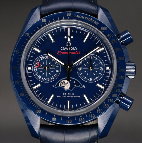 "[Brand New Watch] Omega Speedmaster Moonwatch Omega Co-Axial Master Chronometer Moonphase Chronograph ""Blue Side of the Moon"" 44.25mm 304.93.44.52.03.001"