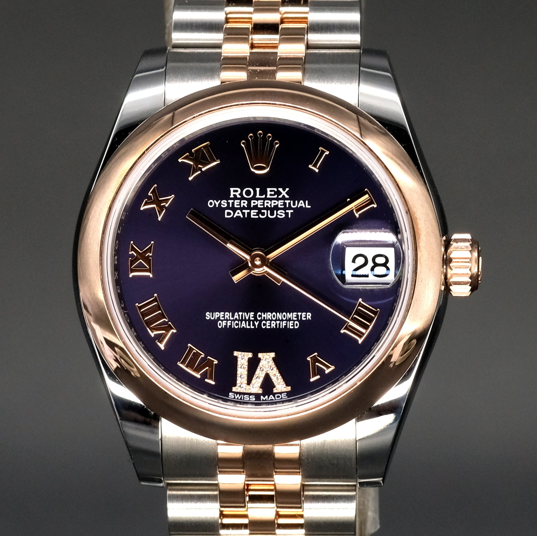 [Brand New Watch] Rolex Datejust 31mm 178241 Purple Dial with VI Diamonds (Jubilee Bracelet)
