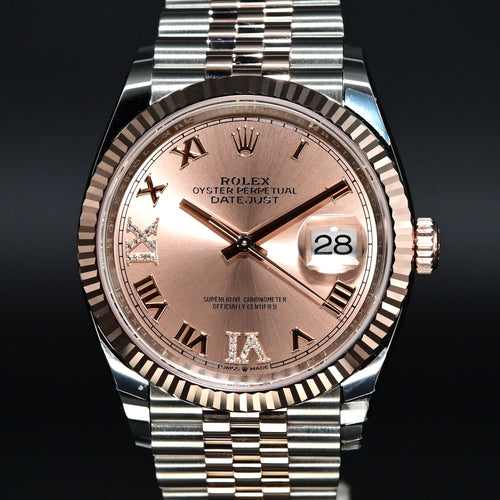 [Brand New Watch] Rolex Datejust 36mm 126231 Rose Dial with VI & IX Diamonds (Jubilee Bracelet)