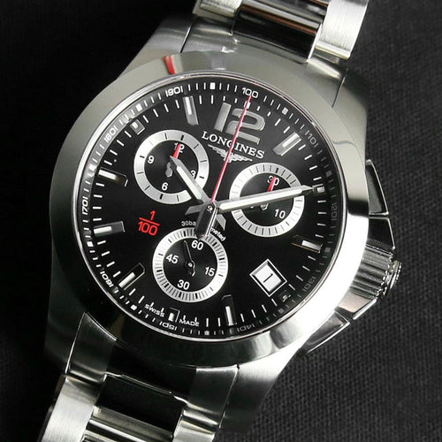 Longines Conquest Chronograph Black Dial Stainless Steel Mens Watch 41mm L3.700.4.56.6