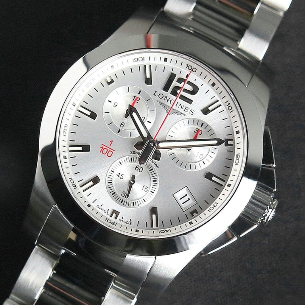 Longines Conquest Chronograph White Dial Stainless Steel Mens Watch 41mm L3.700.4.76.6