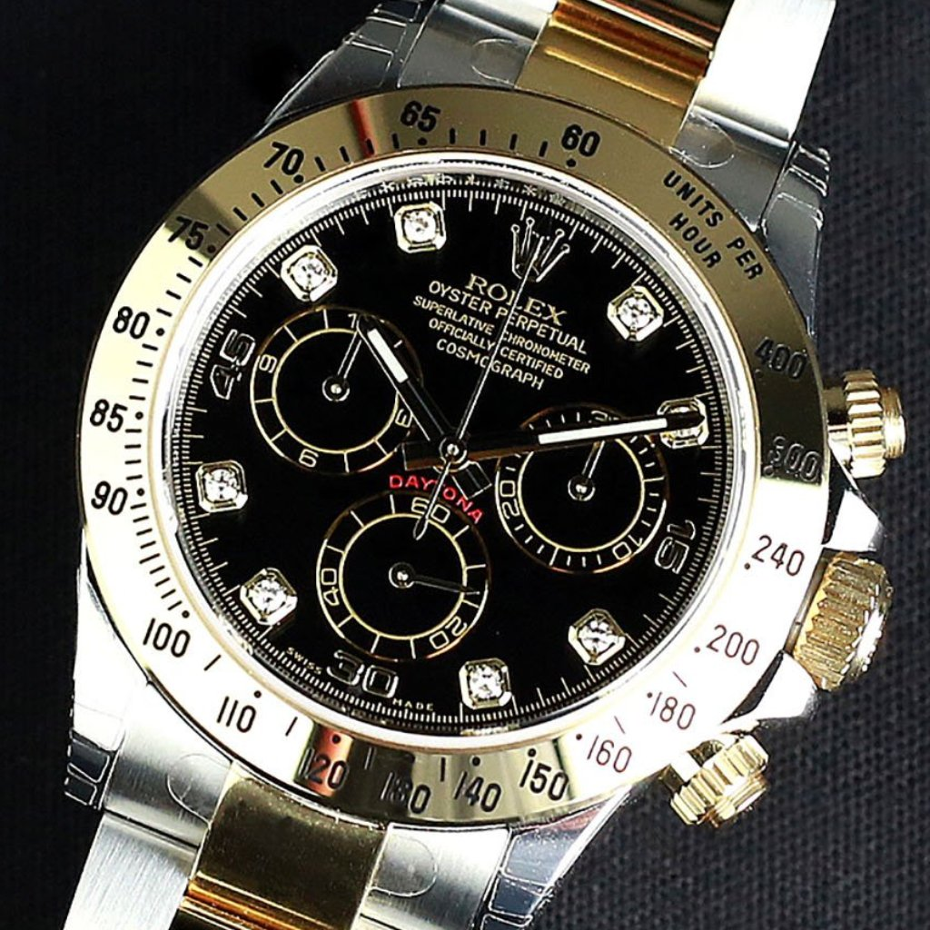 Rolex Cosmograph Daytona 40mm 116523 Black Dial with Diamonds (Out of Production)