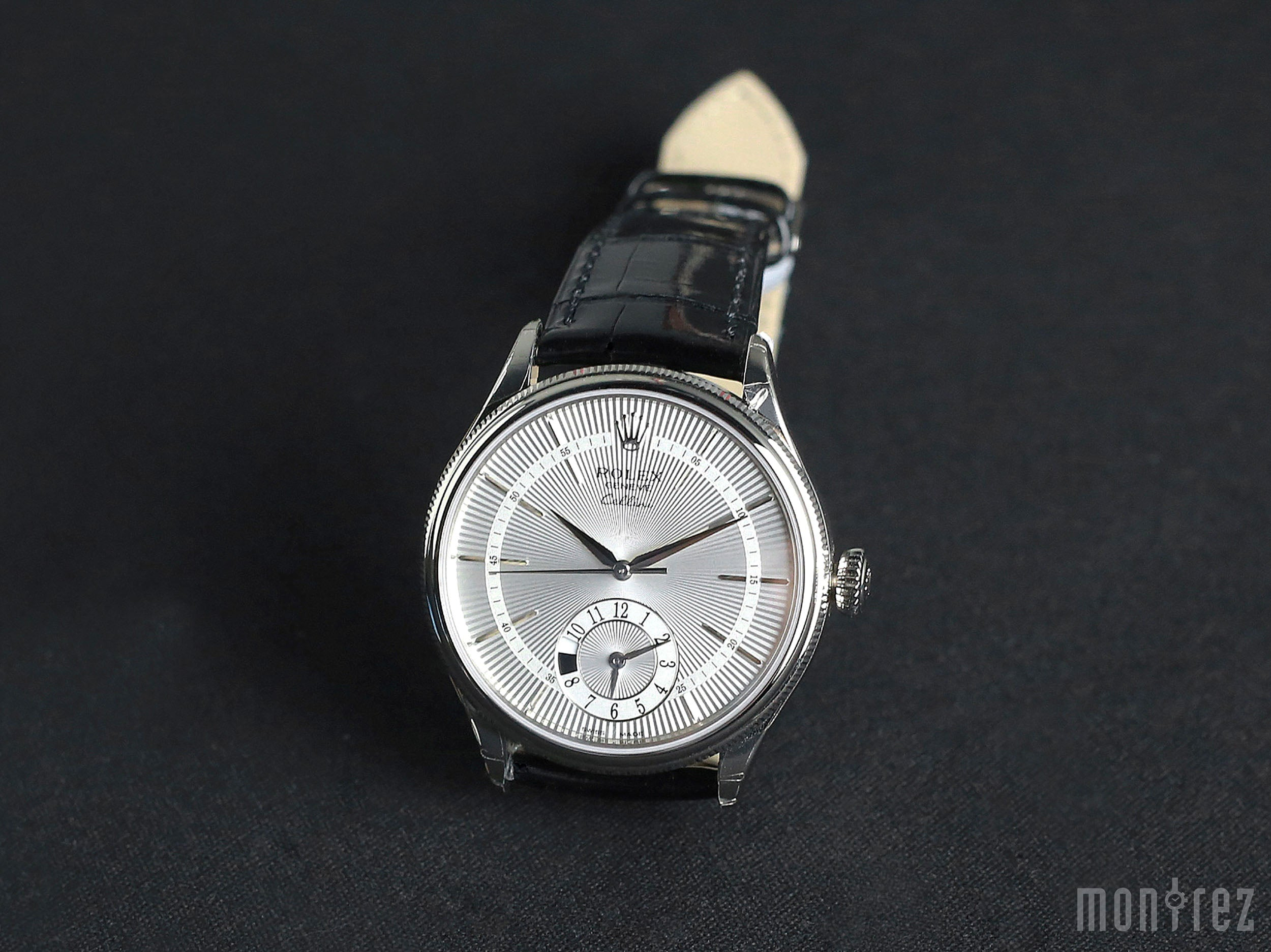 Rolex Cellini Dual Time 39mm 50529 Silver Guilloche Dial