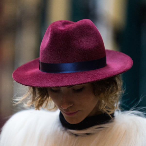 Maya Burgundy Fedora with Blue Silk band | Kate Braithwaite Millinery