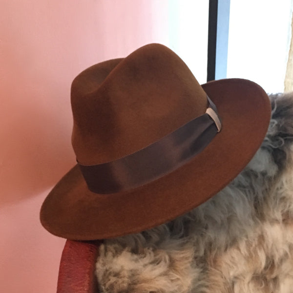 Maya Chestnut Brown Fedora with Chocolate Brown Grossgrain band | KB Millinery
