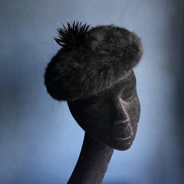 Faux fur beret with feather biot pom pom | Kate Braithwaite Millinery