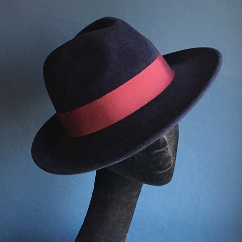 Maya Blue Fedora | Navy and Burgundy | KB Millinery