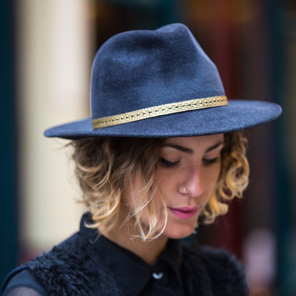 Maya Blue Fedora with Gold and Black Silk Braid | Kate Braithwaite Millinery