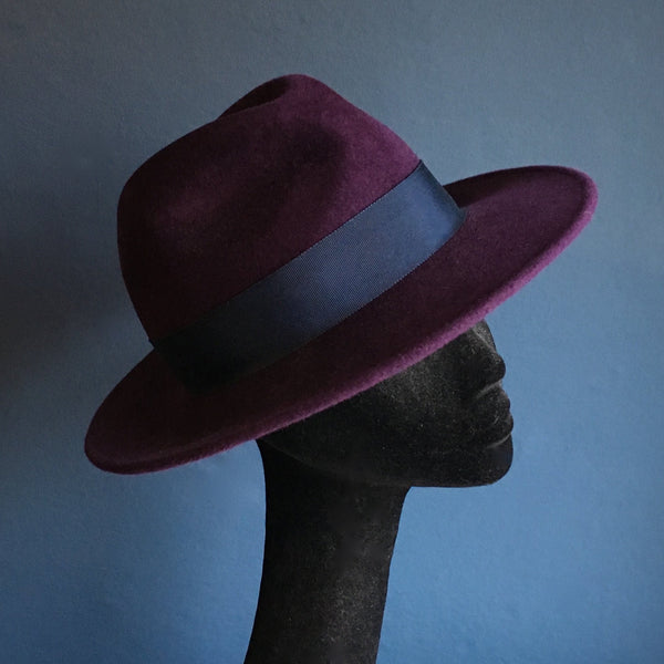 Maya Purple Fur Felt Fedora with Blue Band | KB MILLINERY