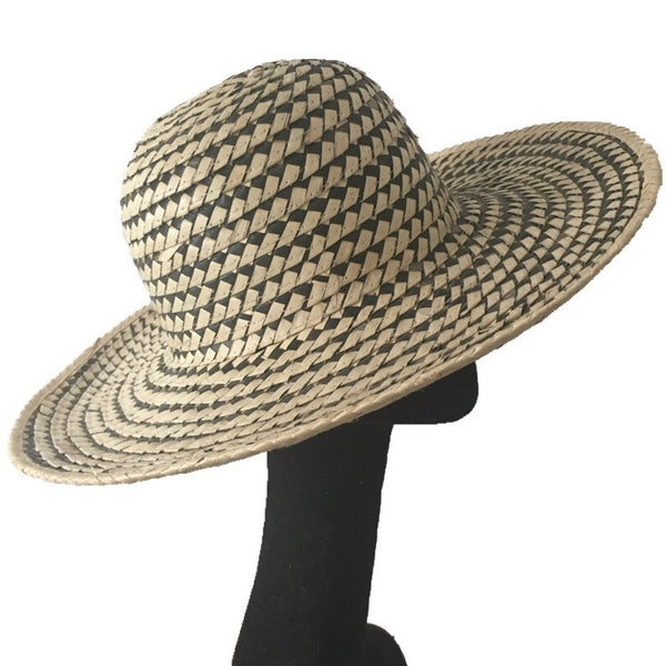 Checked Woven Straw Sun Hat | Kate Braithwaite Millinery