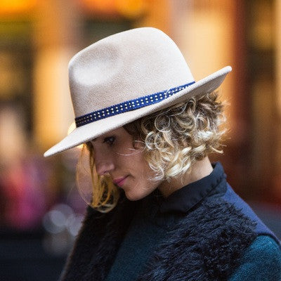 Maya Camel Fedora with Blue and gold silk braid | Kate Braithwaite Millinery