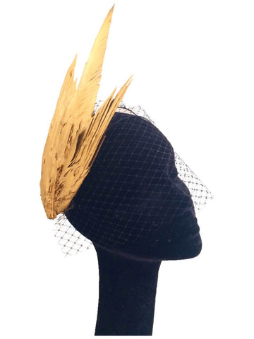 Gold Feather Wings | Kate Braithwaite Millinery | As seen in Vouge Paris