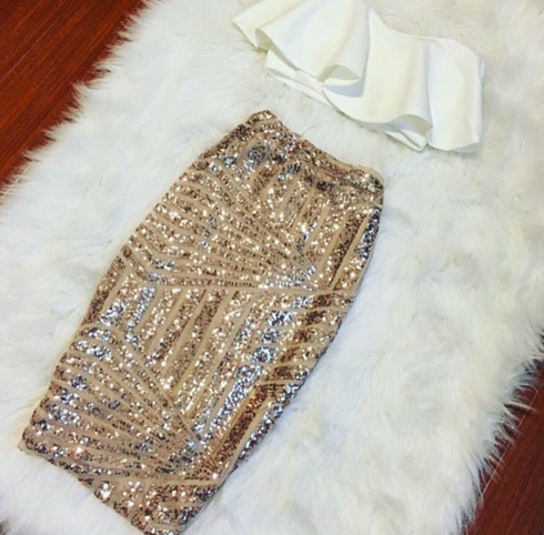 White Ruffle Crop Top & Rose Gold Sequin Pencil Skirt Set