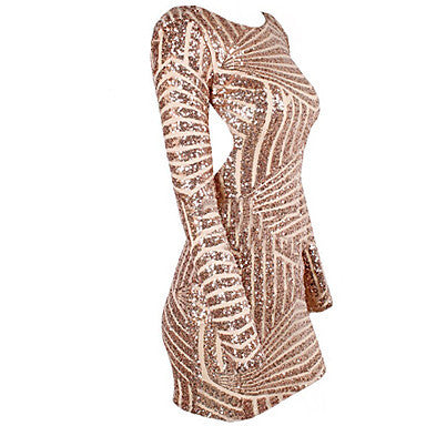 Rose Champagne Sequin Open Back Long Sleeve Dress