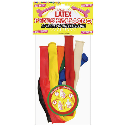 20 Inches Of Inflatable Fun Penis Balloons - Bag Of 8