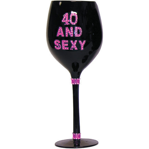 40 & Sexy Wine Glass - Black