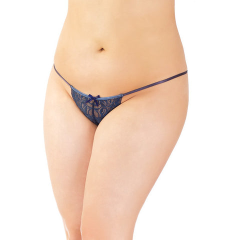 -stretch Lace Adjustable G-string W-front Bow Navy Os-xl