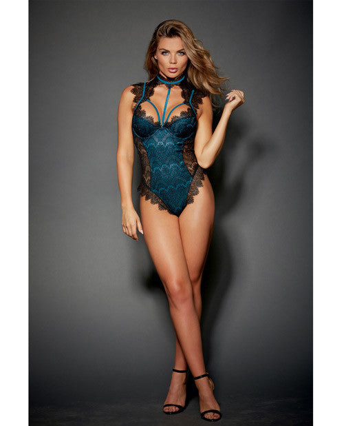Stretch Satin Teddy W-underwire Cups & Lace Overlay, Tie Back Collar & Snap Crotch Black-teal Xs