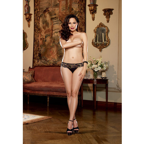 Cross Dye Lace & Microfiber Thong Black-gold 1x-2x