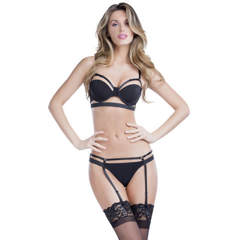 Bandage Thong W-removable Garters Black Md