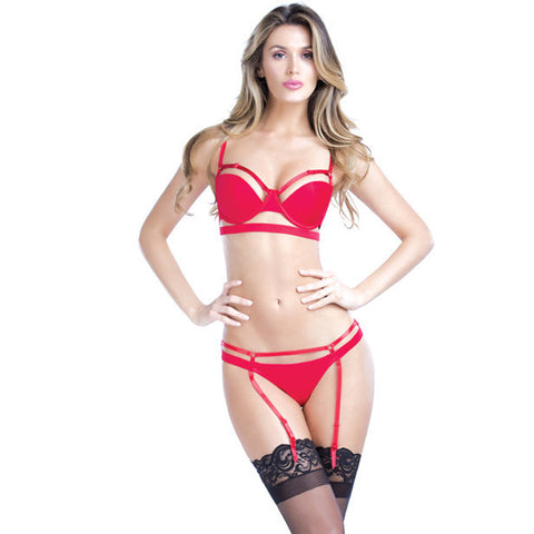 Bandage Thong W-removable Garters Red Lg