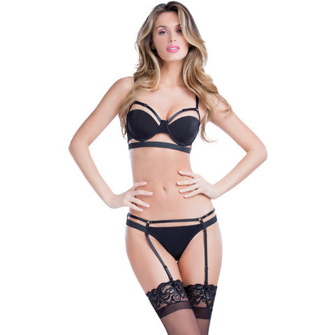 Bandage Bra W-adjustable Straps Black Lg