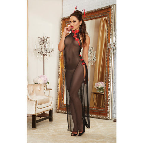 2 Pc Mesh Halter High Slit Gown W-collar & Decorative Fasteners & Hair Chopsticks Black-red O-s