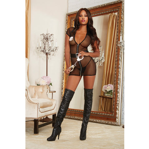 3 Pc Stretch Fishnet Zipper Front Chemise, Handcuffs & Badge Black O-s