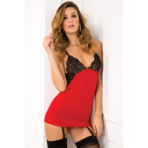 A-list Chemise & G-string Set Red M-l