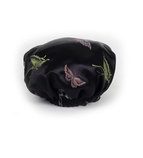 Madame Butterfly Satin Sleep Bonnet in Ebony