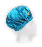 Madame Butterfly Satin Sleep Bonnet in Teal