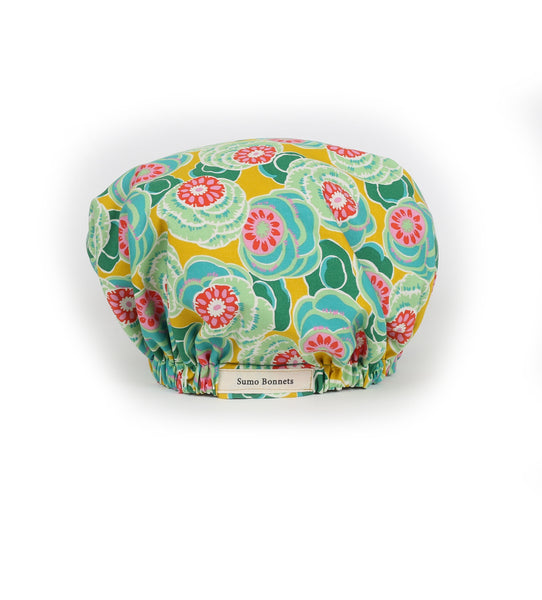'Anya' Green/ Turquoise Floral Satin Sleep Bonnet