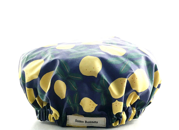 'Ayanna' Lemon Print XL Shower Bonnet