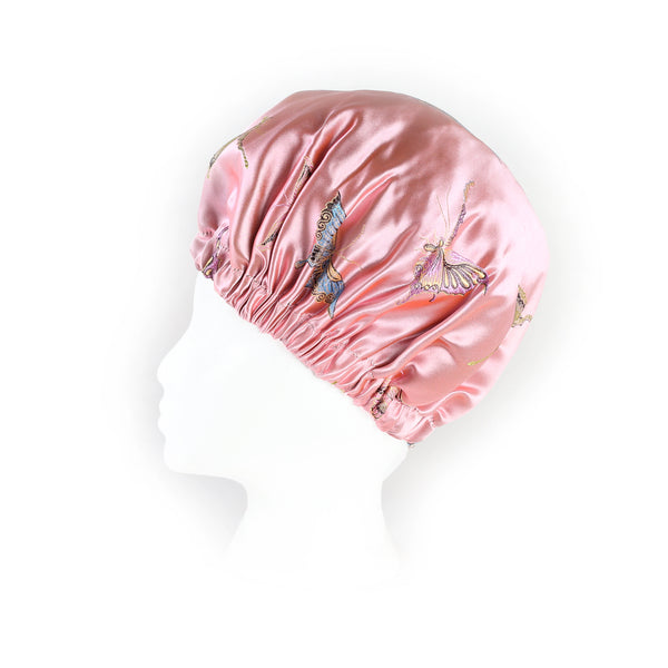 'Madame Butterfly' Satin Sleep Bonnet in Rose