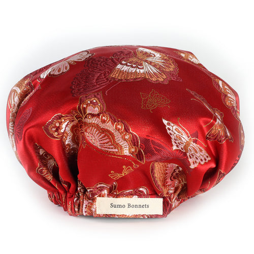 'Madame Butterfly' Satin Sleep Bonnet in Scarlet