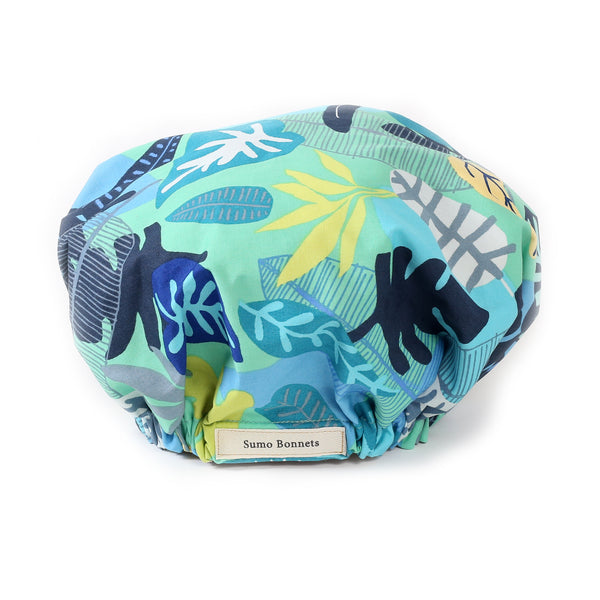Aqua Blue Foliage Print Satin Sleep Bonnet