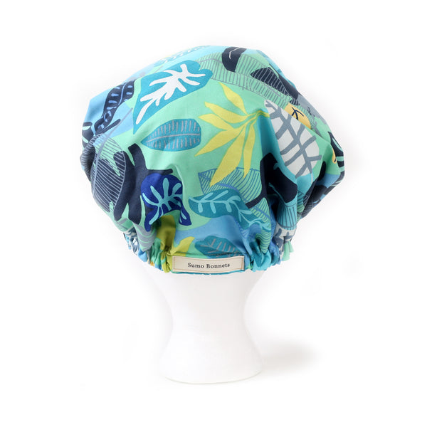 Back Side view: Aqua Blue Foliage Print Satin Sleep Bonnet