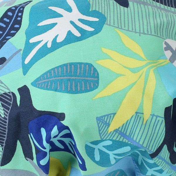Close up of Aqua Blue Foliage Print Satin Sleep Bonnet