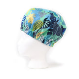Left Side view: Aqua Blue Foliage Print Satin Sleep Bonnet