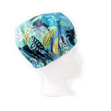 Right Side view: Aqua Blue Foliage Print Satin Sleep Bonnet