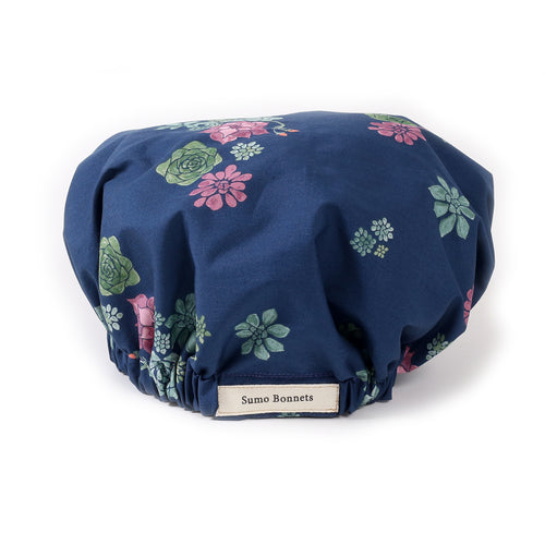 Midnight Blue Succulent Print Bonnet: Front