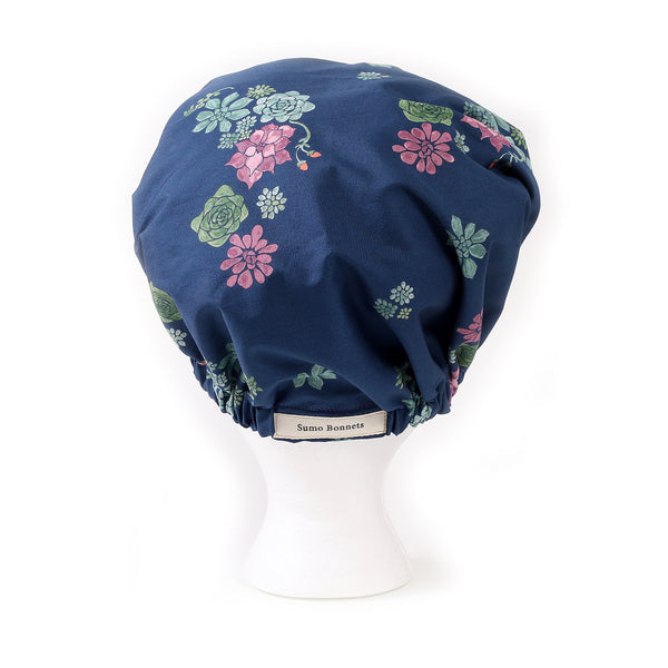'Issa' Satin Sleep Bonnet in Midnight Blue