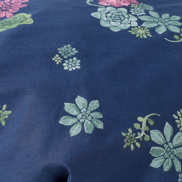 Midnight Blue Succulent Print Bonnet: Closeup