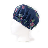 Midnight Blue Succulent Print Bonnet: Left Side