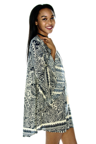Paisley Bell Sleeve Bohemian Dress